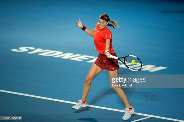 Petra Kvitova of the Czech Republic hits a forehand during her match with Angelique Kerber of Germany on day five of the 2019 Sydney International at...
