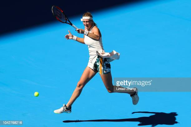 Petra Kvitova of the Czech Republic hits a return against Daria Gavrilova of Australia during their women's singles 1st Round match of the 2018 China...