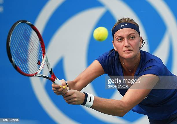 Petra Kvitova of the Czech Republic hits a return during her semifinal win over Elina Svitolina of Ukraine at the Wuhan Open tennis tournament in...