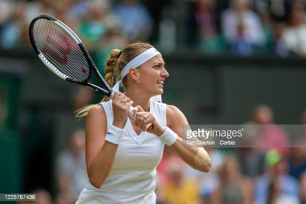 Petra Kvitova of the Czech Republic in action against Johanna Konta of Great Britain on Centre Court during the Wimbledon Lawn Tennis Championships...