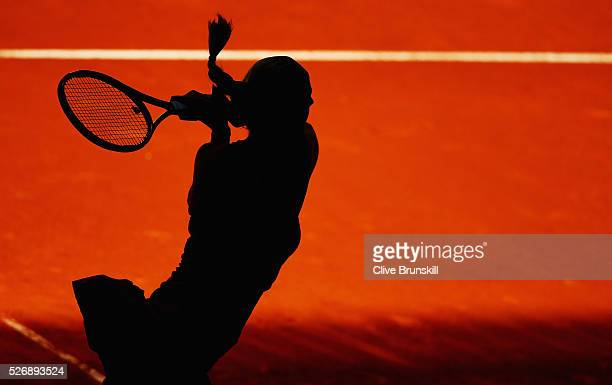 Petra Kvitova of the Czech Republic in action against Lara Arruabarrena of Spain in their first round match during day two of the Mutua Madrid Open...