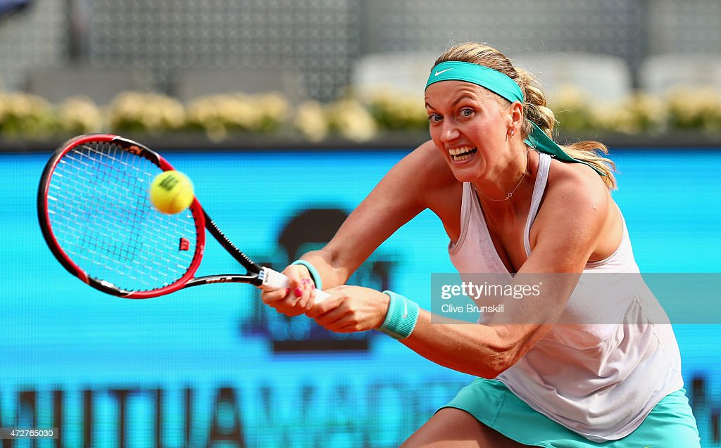 Petra Kvitova of the Czech Republic in action against Svetlana Kuznetsova of Russia in the womens final during day eight of the Mutua Madrid Open tennis tournament at the Caja Magica on May 9, 2015 in Madrid, Spain.