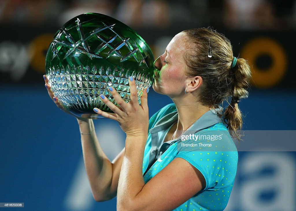 Petra Kvitova of the Czech Republic kisses the trophy after winning the Womens Singles Final match against Karolina Pliskova of the Czech Republic during day six of the 2015 Sydney International at Sydney Olympic Park Tennis Centre on January 16, 2015 in Sydney, Australia.