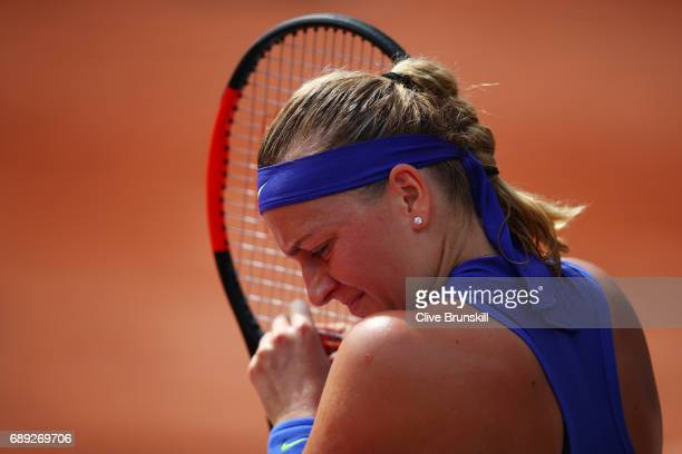 Petra Kvitova of the Czech Republic looks on during the ladies singles first round match against Julia Boserup of the United States on day one of the...