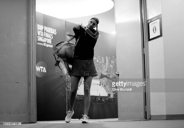 Petra Kvitova of the Czech Republic makes her way to the court prior to her singles match against Karolina Pliskova of the Czech Republic during day...