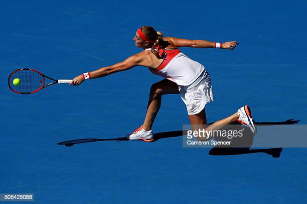 Petra Kvitova of the Czech Republic plays a backhand in her first round match against Luksika Kumkhum of Thailand during day one of the 2016...