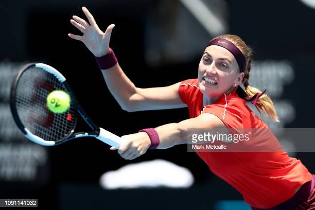 Petra Kvitova of the Czech Republic plays a backhand in her match against Aryna Sabalenka of Belarus during day three of the 2019 Sydney...