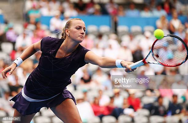 Petra Kvitova of the Czech Republic plays a backhand in her match against Tsvetana Pironkova of Bulgaria during day five of the 2014 Sydney...