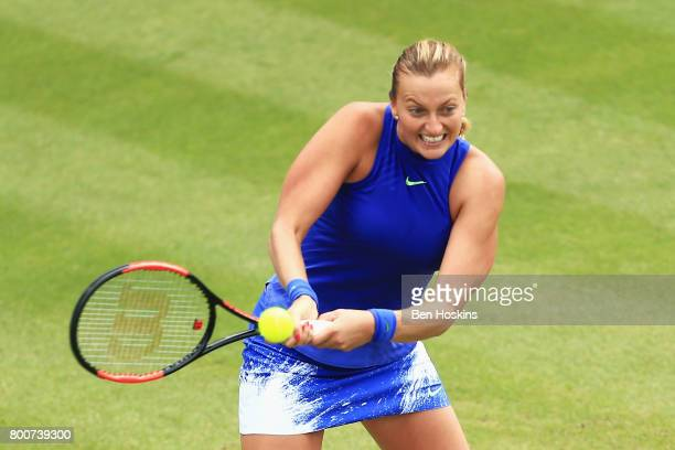 Petra Kvitova of the Czech Republic plays a backhand shot during the Women's Singles final match against Ashleigh Barty on day seven of the Aegon...
