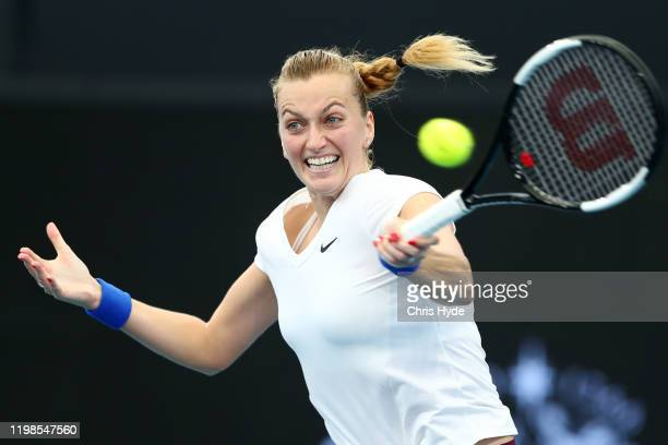 Petra Kvitova of The Czech Republic plays a forehand in her quarter final match against Jennifer Brady of the USA during day five of the 2020...