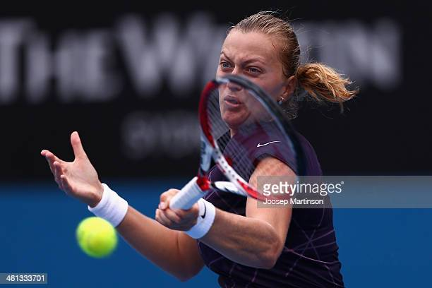 Petra Kvitova of the Czech Republic plays a forehand in her quarter final match against Lucie Safarova of the Czech Republic during day four of the...