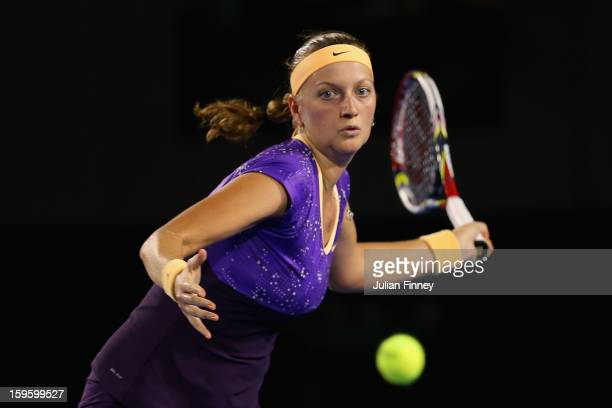 Petra Kvitova of the Czech Republic plays a forehand in her second round match against Laura Robson of Great Britain during day four of the 2013...