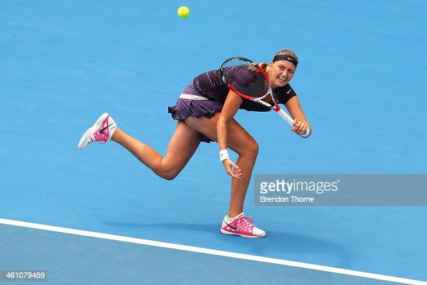 Petra Kvitova of the Czech Republic plays a forehand in her second round match against Christina McHale of the USA during day three of the 2014...