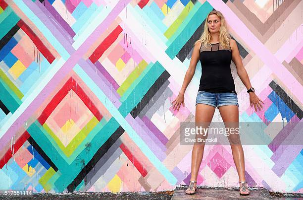 Petra Kvitova of the Czech Republic poses for a photograph at the Wynwood Walls in Miami during the Miami Open Presented by Itau at Crandon Park...
