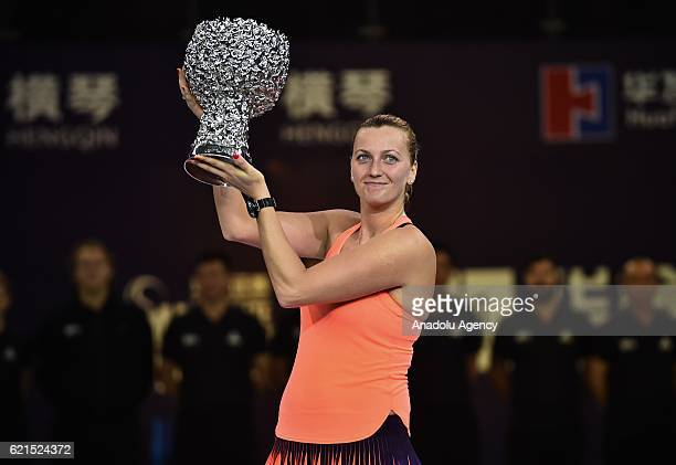 Petra Kvitova of the Czech Republic poses with her trophy after winning the women's singles final match against Elina Svitolina of Ukraine during the...
