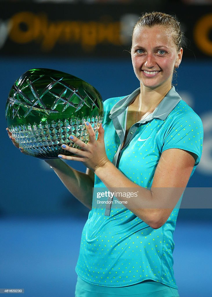Petra Kvitova of the Czech Republic poses with the trophy after winning the Womens Singles Final match against Karolina Pliskova of the Czech Republic during day six of the 2015 Sydney International at Sydney Olympic Park Tennis Centre on January 16, 2015 in Sydney, Australia.