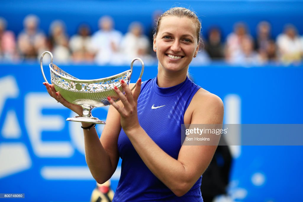Petra Kvitova of the Czech Republic poses with the trophy after the Women's Singles final match against Ashleigh Barty on day seven of the Aegon Classic Birmingham at Edgbaston Priory Club on June 25, 2017 in Birmingham, England.