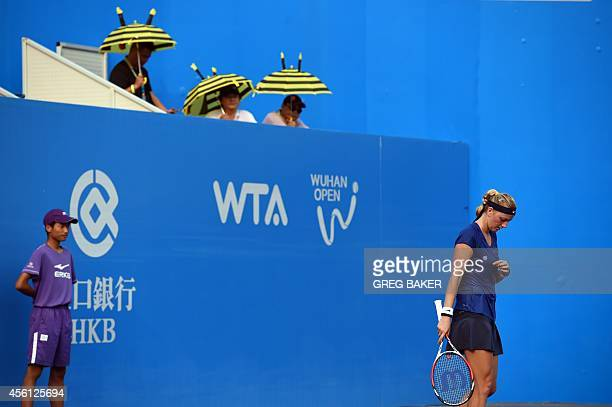 Petra Kvitova of the Czech Republic prepares to receive serve during her semifinal win over Elina Svitolina of Ukraine at the Wuhan Open tennis...