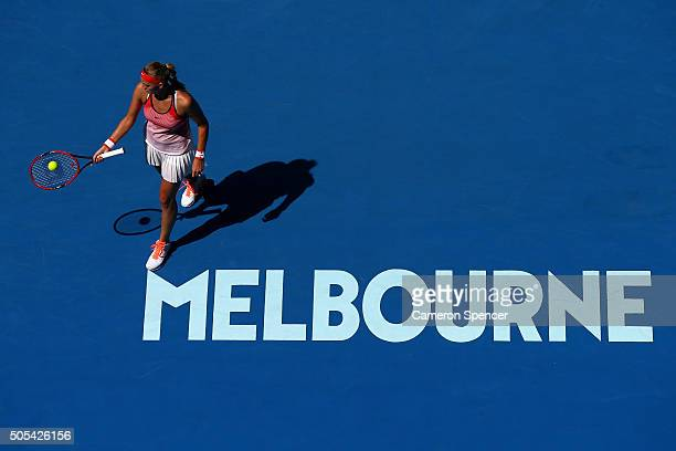 Petra Kvitova of the Czech Republic prepares to serve in her first round match against Luksika Kumkhum of Thailand during day one of the 2016...
