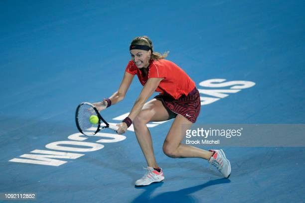Petra Kvitova of the Czech Republic reaches for a backhand against Angelique Kerber of Germany on day five of the 2019 Sydney International at the...