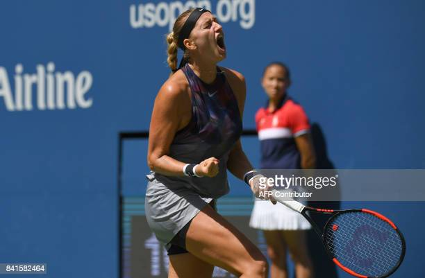 Petra Kvitova of the Czech Republic reacts against Caroline Garcia of France during their 3rd Round Women's Singles match during at the US Open 2017...