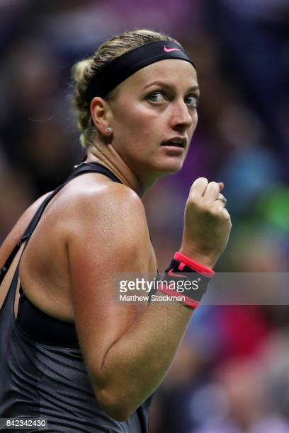 Petra Kvitova of the Czech Republic reacts against to Garbine Muguruza of Spain during their fourth round Women's Singles match between on Day Seven...