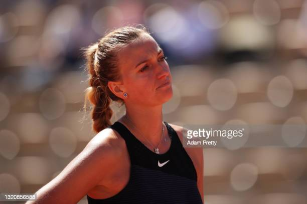 Petra Kvitova of The Czech Republic reacts in her First Round match against Greet Minnen of Belgium during Day One of the 2021 French Open at Roland...