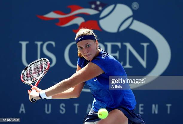 Petra Kvitova of the Czech Republic returns a shot against Aleksandra Krunic of Serbia during their women's singles third round match on Day Six of...