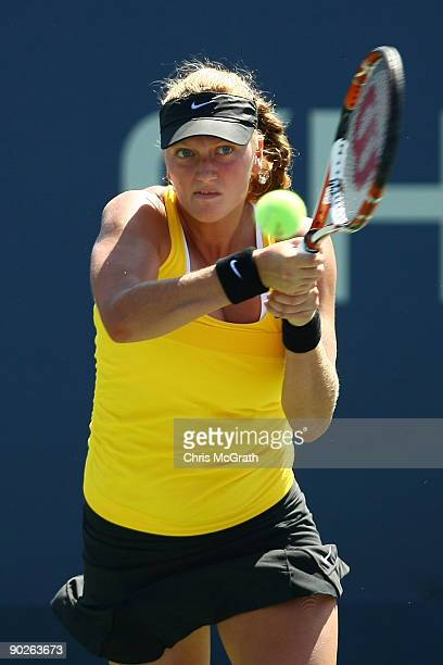 Petra Kvitova of the Czech Republic returns a shot against Alisa Kleybanova of Russia during day two of the 2009 US Open at the USTA Billie Jean King...