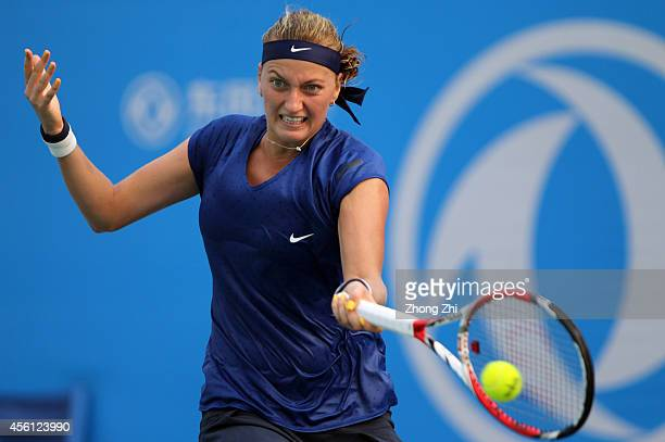 Petra Kvitova of the Czech Republic returns a shot during her match against Elina Svitolina of Ukraine on day six of 2014 Dongfeng Motor Wuhan Open...