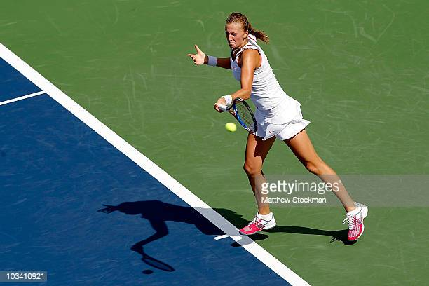 Petra Kvitova of the Czech Republic returns a shot to Aravane Rezai of France during the Rogers Cup at Stade Uniprix on August 16 2010 in Montreal...