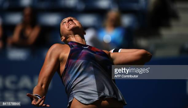 Petra Kvitova of the Czech Republic returns the ball against Caroline Garcia of France during their 3rd Round Women's Singles match during at the US...