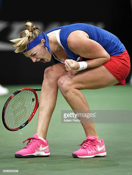 Petra Kvitova of the Czech Republic screams after saving set point during the third rubber of the Fed Cup Final between Petra Kvitova of the Czech...