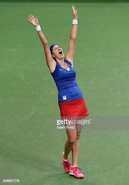 Petra Kvitova of the Czech Republic screams after winning match point during the third rubber and winning the the Fed Cup after her match between...