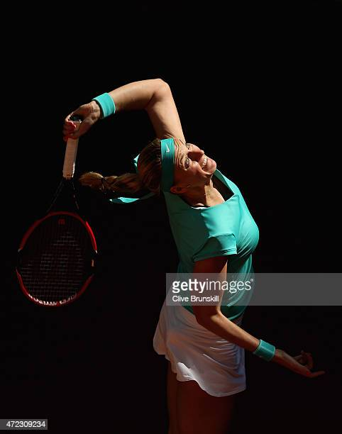 Petra Kvitova of the Czech Republic serves against Anastasia Pavlyuchenkova of Russia in their third round match during day five of the Mutua Madrid...