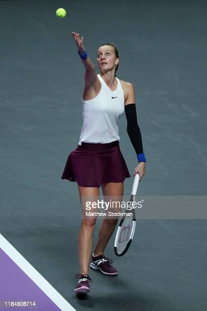 Petra Kvitova of the Czech Republic serves against Ashleigh Barty of Australia during their Women's Singles match on Day Five of the 2019 Shiseido...