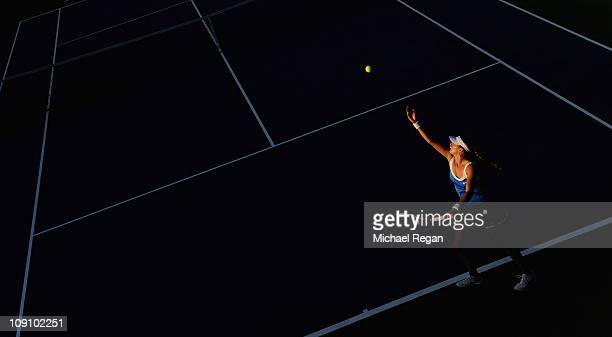 Petra Kvitova of the Czech Republic serves during her Round 1 match against Ayumi Morita of Japan during day two of the WTA Dubai Duty Free Tennis...
