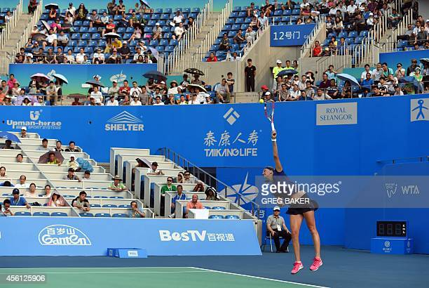 Petra Kvitova of the Czech Republic serves during her semifinal win over Elina Svitolina of Ukraine at the Wuhan Open tennis tournament in Wuhan in...
