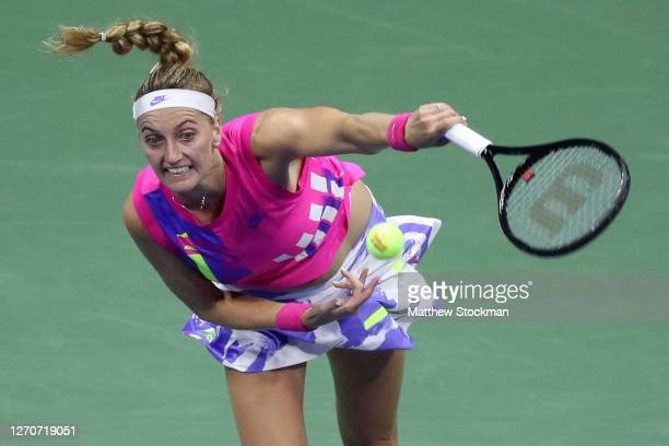 Petra Kvitova of the Czech Republic serves during her Women's Singles third round match against Jessica Pegula of the United States on Day Five of...