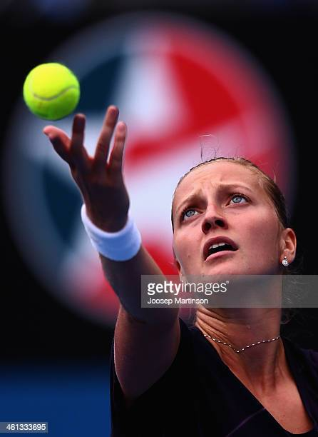 Petra Kvitova of the Czech Republic serves in her quarter final match against Lucie Safarova of the Czech Republic during day four of the 2014 Sydney...