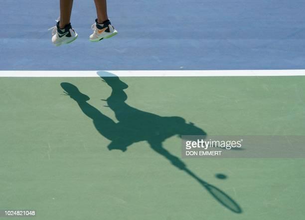 Petra Kvitova of the Czech Republic serves to Yanina Wickmayer of Belgium during their 2018 US Open women's match August 28 2018 in New York