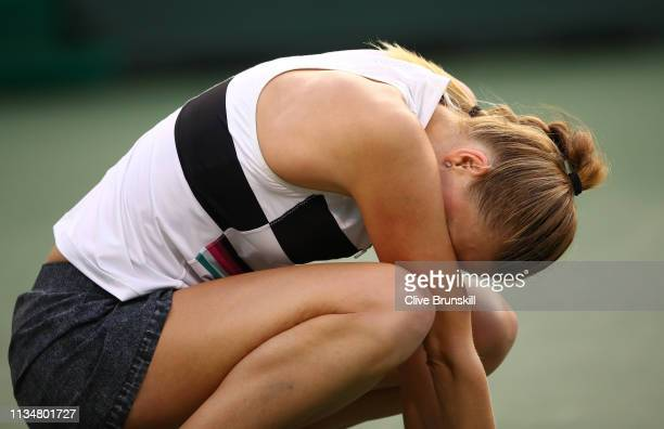 Petra Kvitova of the Czech Republic shows her emotion during her three set defeat against Venus Williams of the United States during their women's...