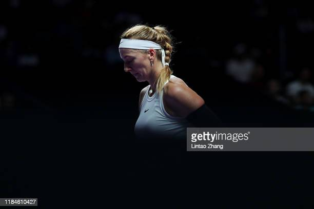 Petra Kvitova of the Czech Republic shows her frustration during her Women's Singles match against Ashleigh Barty of Australia on Day Five of the...