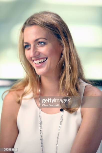 Petra Kvitova of the Czech Republic speaks during the All Access Hour press conference at Marina Bay Sands convention center on October 20 2018 in...
