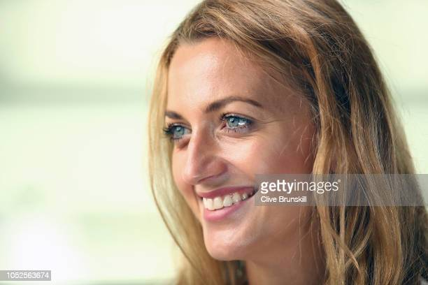 Petra Kvitova of the Czech Republic speaks during the All Access Hour press conference at Marina Bay Sands convention center on October 20, 2018 in...