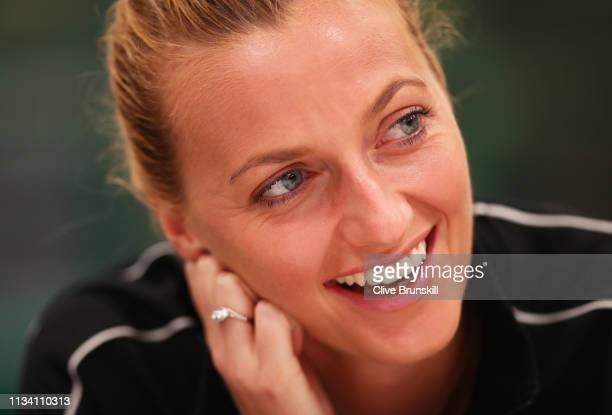 Petra Kvitova of the Czech Republic speaks to the media during the WTA all access hour on day three of the BNP Paribas Open at the Indian Wells...