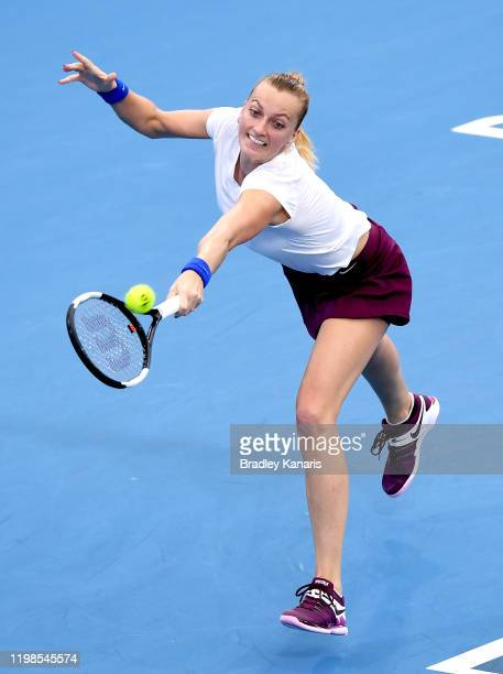Petra Kvitova of The Czech Republic stretches out to play a backhand in her match against Jennifer Brady of the USA during day five of the 2020...