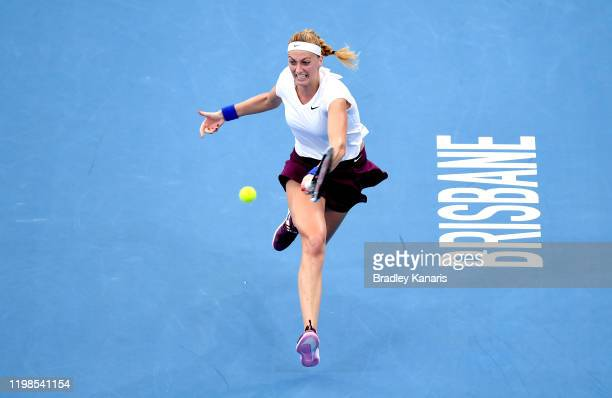 Petra Kvitova of The Czech Republic stretches out to play a forehand in her match against Jennifer Brady of the USA during day five of the 2020...