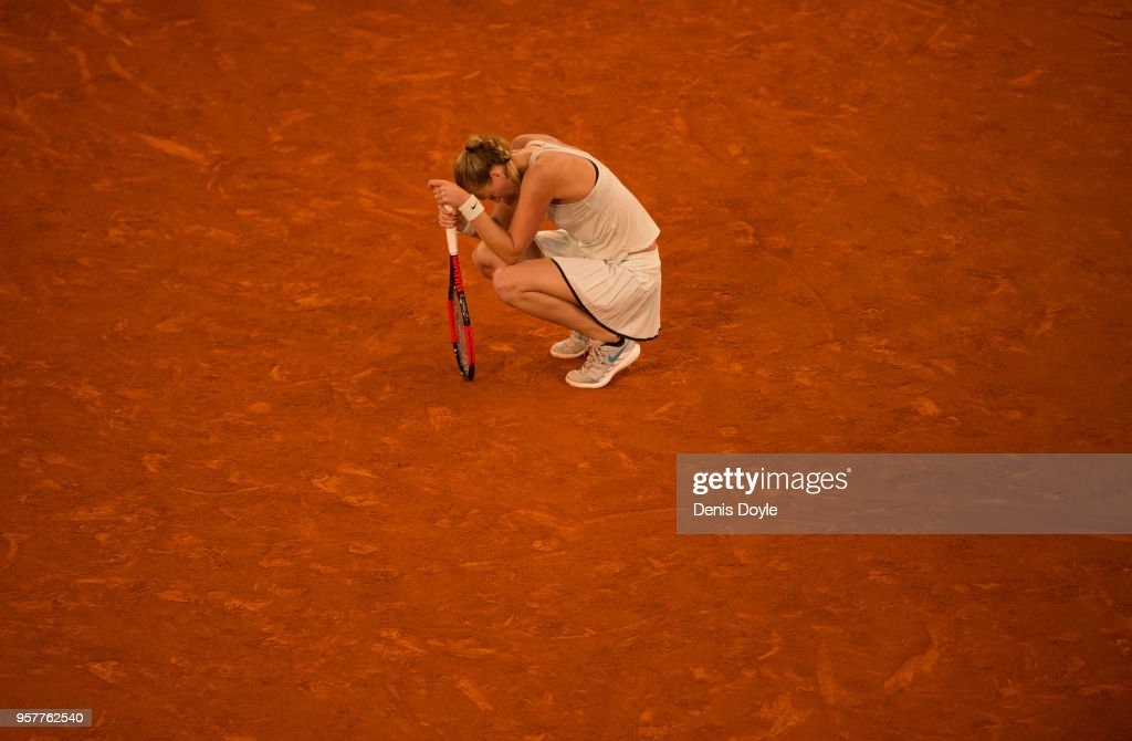 Petra Kvitova of the Czech Republic takes a rest during her final match against Kiki Bertens of the Netherlands during day eight of the Mutua Madrid Open tennis tournament at the Caja Magica on May 12, 2018 in Madrid, Spain.