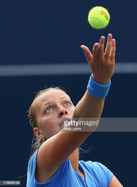 Petra Kvitova of the Czech Republic tosses the ball on her serve in her 63 63 win over Samantha Stosur of Australia on day four of the Rogers Cup...